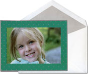 William Arthur Holiday Photo Mount Cards - Silver Dots On Teal