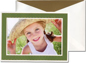 William Arthur Holiday Photo Mount Cards - Green Herringbone