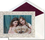 William Arthur Holiday Photo Mount Cards - Taupe Filigree
