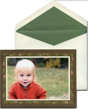 William Arthur Holiday Photo Mount Cards - Engraved Pine Spray
