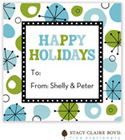 Stacy Claire Boyd - Holiday Calling Cards (Retro Wishes - Blue - Folded)