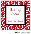Stacy Claire Boyd - Holiday Calling Cards (Swirls & Whirls - Red - Folded)