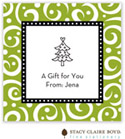 Stacy Claire Boyd - Holiday Calling Cards (Swirls & Whirls - Green - Folded)