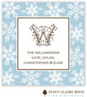 Stacy Claire Boyd - Holiday Calling Cards (Fanciful Snowflakes - Blue - Folded)