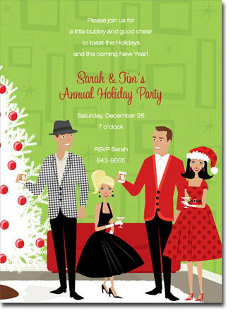 Noteworthy Collections - Holiday Invitations (Retro ...