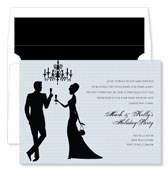 Noteworthy Collections - Holiday Invitations (Silhouette Champagne Toast Grey)