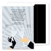 Noteworthy Collections - Holiday Invitations (New Year's Toast Silver)