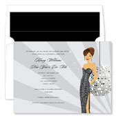 Noteworthy Collections - Holiday Invitations (New Year's Eve Girl - Brunette)