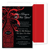 Noteworthy Collections - Holiday Invitations (Filigree Champagne Black)
