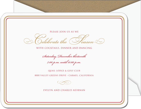 William Arthur Holiday Invitations - Scarlet and Gold Round Cornered (#28-106484)