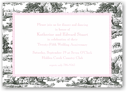 Boatman Geller - Black Toile With Pink Check Invitations