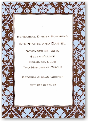 Boatman Geller - Blue & Brown Damask Invitations