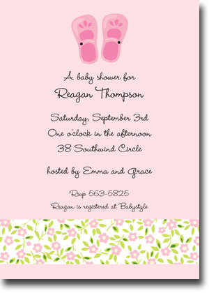 Boatman Geller - Baby Shoes Pink Birth Announcements/Invitations (V)