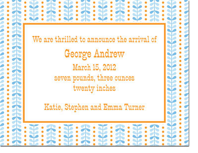 Boatman Geller - Bright Vine Blue & Orange Invitations