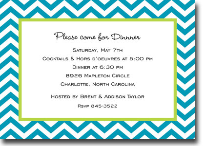 Boatman Geller - Chevron Turquoise Invitations (H)