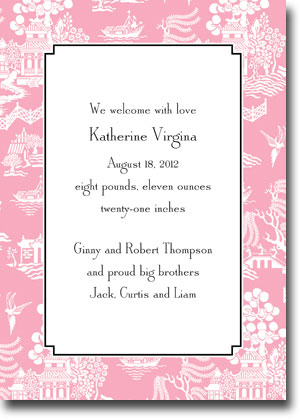 Boatman Geller - Chinoiserie Pink Invitations (V)