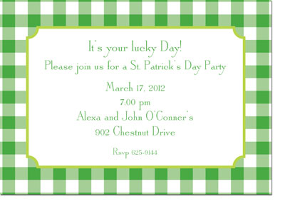 Boatman Geller - Classic Check Kelly And Lime St. Patrick's Day Invitations