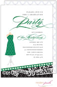Modern Posh Invitations - Graduation (Black & Dark Green) (I7J8129-02C-16)