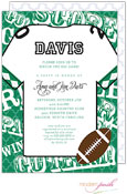 Modern Posh Invitations - Football (Dark Green & Black) (I7J8130-02C-24)