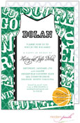 Modern Posh Invitations - Basketball (Dark Green & Black) (I7J8130-02C-7)