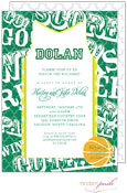 Modern Posh Invitations - Basketball (Dark Green & Yellow) (I7J8130-02C-9)