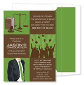 Noteworthy Collections - Invitations (3-Squared Law Grad Olive - Graduation) (ID-1065)