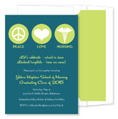 Noteworthy Collections - Invitations (Peace  Love  Nursing Teal & Lime - Graduation) (ID-1080)