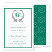 Noteworthy Collections - Graduation Invitations (Acanthus  Green & Silver) (ID-152-C13)