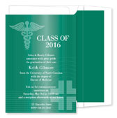 Noteworthy Collections - Graduation Invitations (Caduceus  Green) (ID-153-C01)