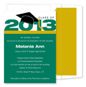 Noteworthy Collections - Graduation Invitations (2012 Cap & Tassel  Green & Gold) (ID-161-C01)