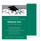 Noteworthy Collections - Graduation Invitations (2012 Cap & Tassel  Green & Silver) (ID-174-C13)