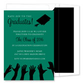 Noteworthy Collections - Graduation Invitations (Hat's Off to the Grad  Green & Black) (ID-185-C13)