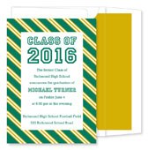 Noteworthy Collections - Graduation Invitations (Repp Tie  Green & Gold) (ID-199-C01)
