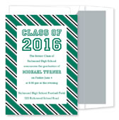 Noteworthy Collections - Graduation Invitations (Repp Tie  Green & Silver) (ID-212-C13)