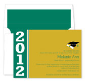 Noteworthy Collections - Graduation Invitations (Color Band Grad  Green & Gold) (ID-213-C01)
