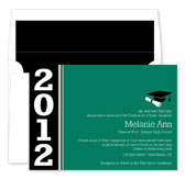 Noteworthy Collections - Graduation Invitations (Color Band Grad  Green & Black) (ID-224-C13)