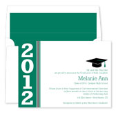Noteworthy Collections - Graduation Invitations (Simple Band Grad  Green & White) (ID-237-C13)