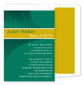 Noteworthy Collections - Graduation Invitations (Modern Band Grad  Green & Gold) (ID-238-C01)
