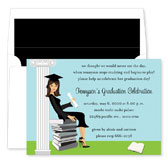 Noteworthy Collections - Graduation Invitations (Stylish Grad Black Hair) (ID-263-BK)