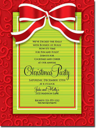 Paper So Pretty - Invitations (Red and White Bow on Swirls)