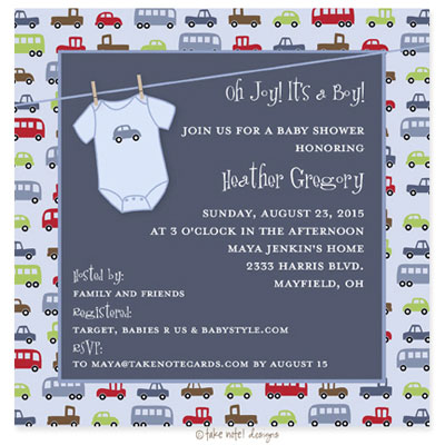 Baby Shower Invitation Cards on Take Note Designs Baby Shower Invitations   Car Print Onesie  More