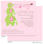 Take Note Designs Baby Shower Invitations - Elephants Clothesline Pink (TND-A2-0224)