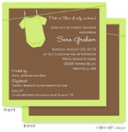 Take Note Designs Baby Shower Invitations - Green Onesie (TND-A2-9019)