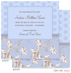 Take Note Designs Baby Shower Invitations - Blue Toile Block (TND-A2-9197)