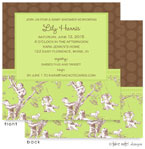 Take Note Designs Baby Shower Invitations - Green Toile on Brown Polka (TND-A2-9210)