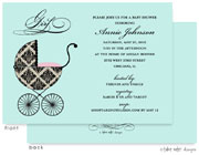Take Note Designs Baby Shower Invitations - Fancy Carriage Damask Pink (TND-A7001)