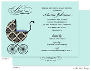 Take Note Designs Baby Shower Invitations - Fancy Carriage Damask Blue (TND-A7002)