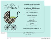 Take Note Designs Baby Shower Invitations - Fancy Carriage Damask Green (TND-A7003)