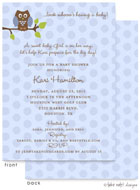 Take Note Designs Baby Shower Invitations - Blue Owl Polka (TND-A7127)