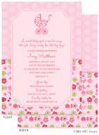 Take Note Designs Baby Shower Invitations - Flower Garden Stroller with Polka (TND-A7156)